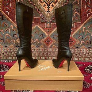Christian Louboutin black leather stiletto heels